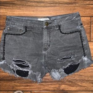 Free people 25 black gray jean short